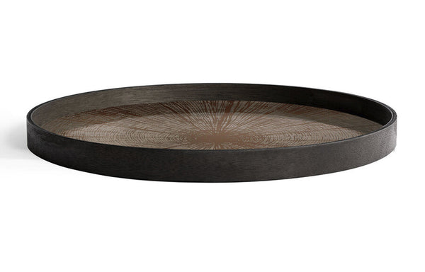 Bronze Slice Mirror Round Tray by Ethnicraft.