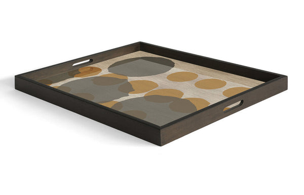 Sienna Layered Dots Glass Tray by Ethnicraft.