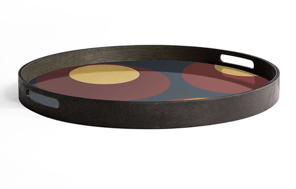Turkish Dots Glass Round Tray by Ethnicraft.