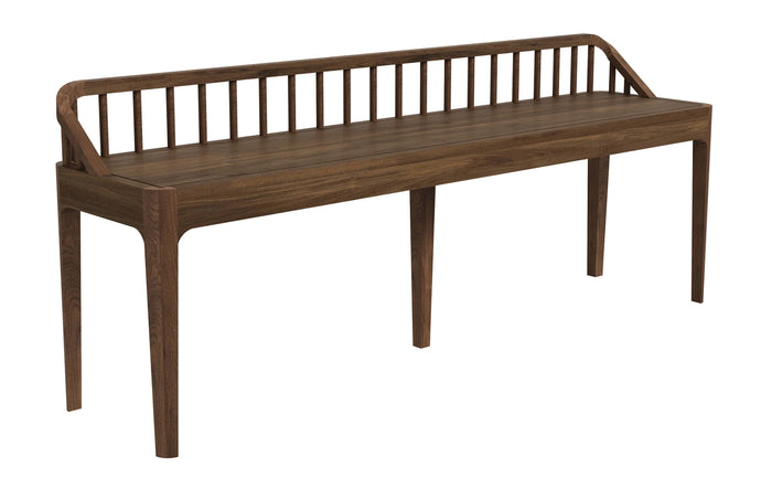 Spindle Walnut Bench with Backrest by Ethnicraft.