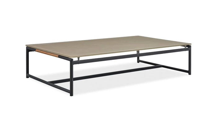 Breeze XL Coffee Table by Harbour - Asteroid Aluminum + Taupe Etched Glass.