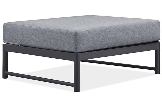 Breeze LX Ottoman by Harbour - Asteroid Powder Coated Aluminum + Sunbrella Cast Slate.
