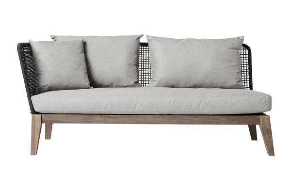 Netta Open Left Arm Sofa in Feather Gray Fabric by Modloft.