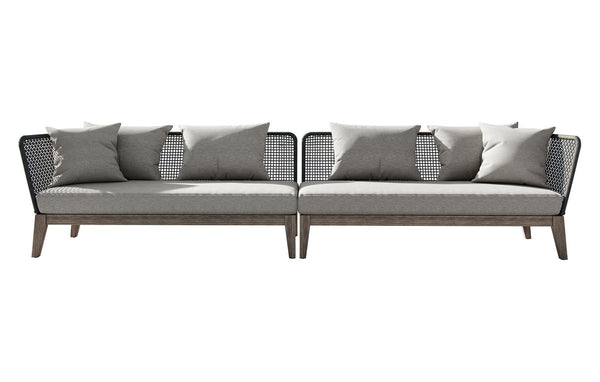 Netta Outdoor Sectional Sofa XL in Feather Gray Fabric by Modloft.