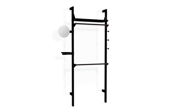 Branch-1 Wardrobe Unit by Gus - Black Uprights/Black Brackets/Black Shelves