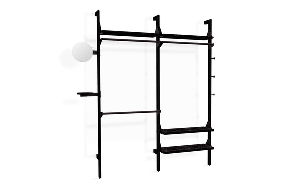 Branch-2 Wardrobe Unit by Gus - Black Uprights/Black Brackets/Black Shelves