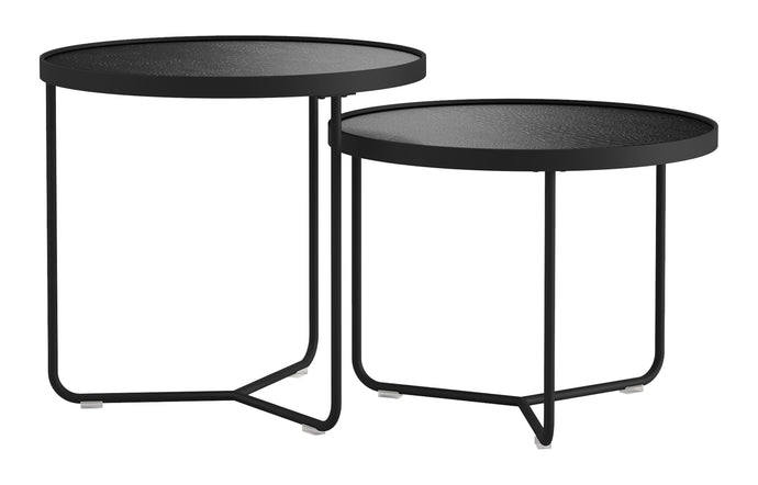 Adelphi Nesting Side Tables by Modloft - Black Crocco Reclaimed Leather