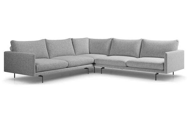Houston Corner Sectional Sofa by Modloft - Stargazer Gray Fabric.