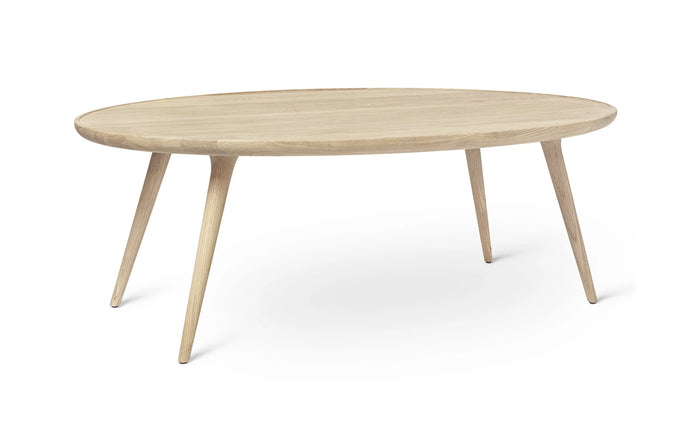 Accent Oval Lounge Table by Mater - Matt White Lacquered Oak.