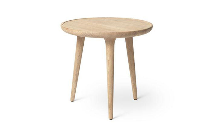 Accent Side Table by Mater - Small, Matt White Lacquered Oak.