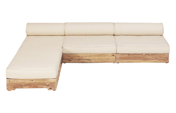Aiko Configuration 1 by Mamagreen - Original Teak Wood/White Sunbrella Cushion.