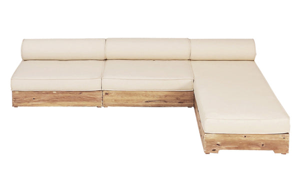 Aiko Configuration 2 by Mamagreen - Original Teak Wood/White Sunbrella Cushion.