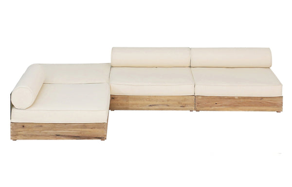 Aiko Configuration 3 by Mamagreen - Original Teak Wood, White Sunbrella Cushion.
