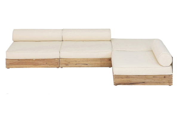 Aiko Configuration 4 by Mamagreen - Original Teak Wood, White Sunbrella Cushion.