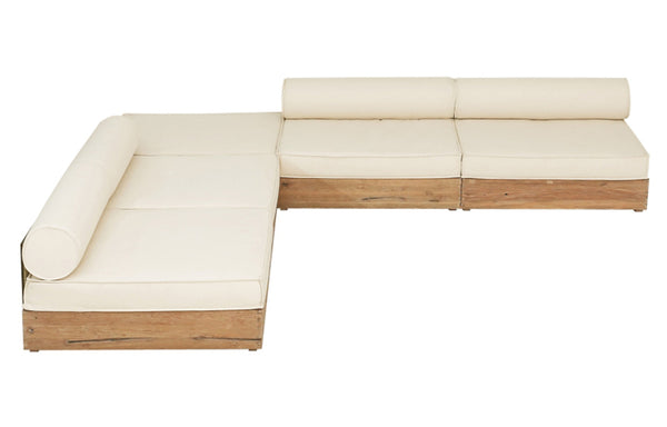 Aiko Configuration 5 by Mamagreen - Original Teak Wood, White Sunbrella Cushion.