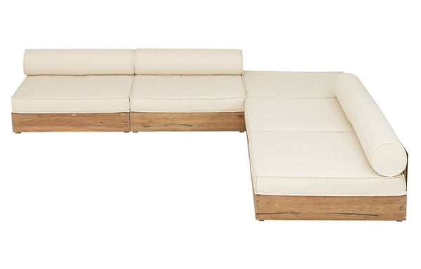 Aiko Configuration 6 by Mamagreen - Original Teak Wood, White Sunbrella Cushion.