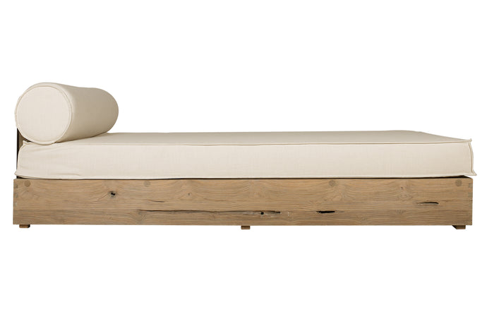 Aiko Lounger by Mamagreen - Original Teak Wood, Slate HPL, White Sunbrella Cushion.