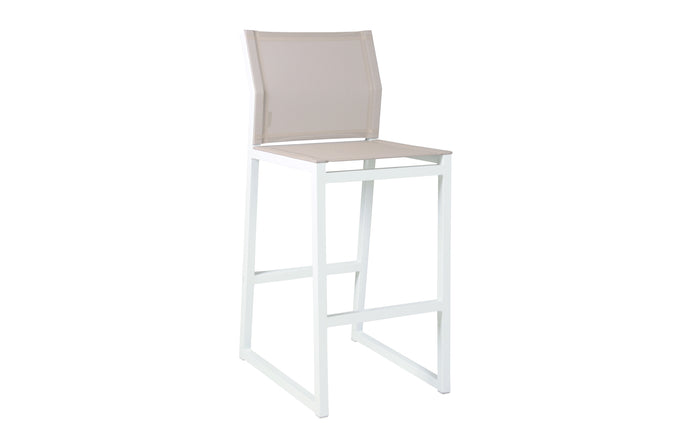 Allux Bar Chair by Mamagreen - White Sand Aluminum, Light Taupe Standard Batyline.