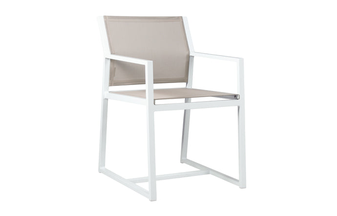 Allux Carver Chair by Mamagreen - White Sand Aluminum, Light Taupe Standard Batyline.