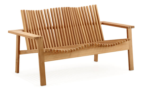 Amaze Stackable 2-Seater Sofa by Cane-Line - Teak/No Cushion.