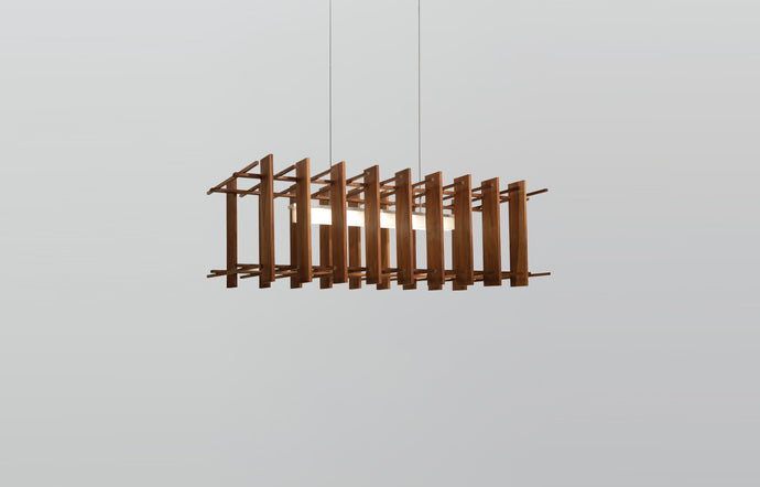 Arca LED Linear Pendant by Cerno - Walnut Wood.