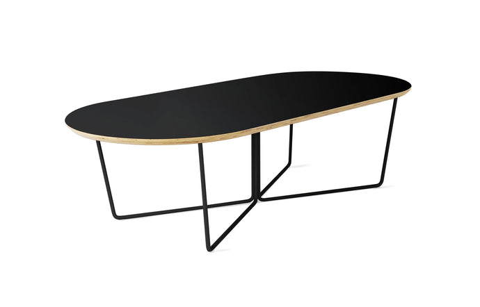 Array Oval Coffee Table by Gus Modern - Black Powder Coat.