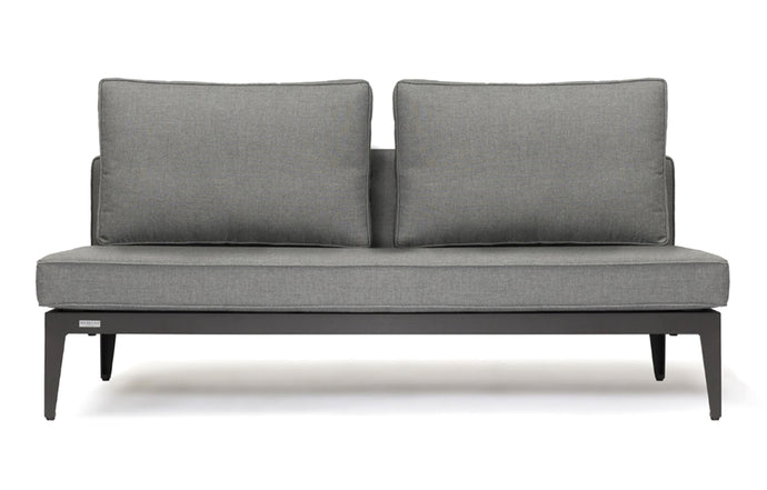 Balmoral 2 Seater Armless by Harbour - Asteroid Aluminum + Taupe Woven Strap/Sunbrella Cast Slate.