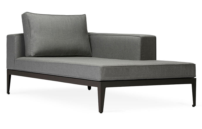 Balmoral Chaise Sectional by Harbour - Asteroid Aluminum + Taupe Woven Strap/Sunbrella Cast Slate.