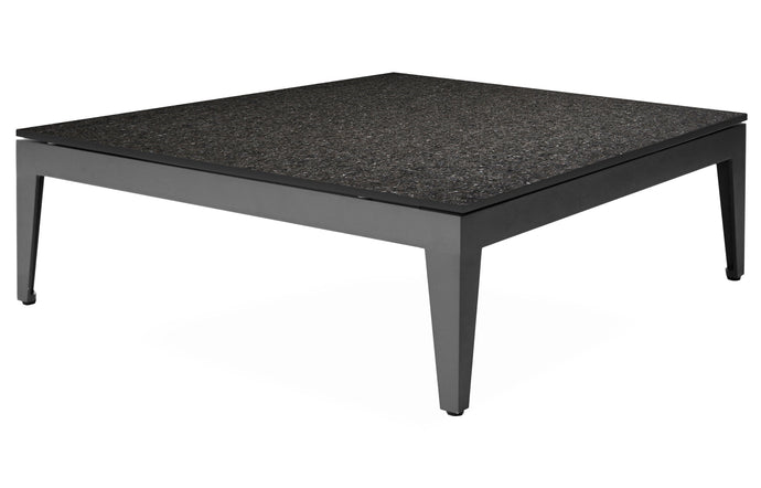 Balmoral Side Table by Harbour - Asteroid Aluminum + Black Flamed Brushed Granite Marble.