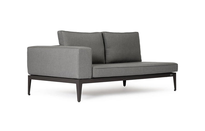 Balmoral Two Seater One Arm Sofa L & R by Harbour - Asteroid Aluminum + Taupe Woven Strap/Sunbrella Cast Slate.