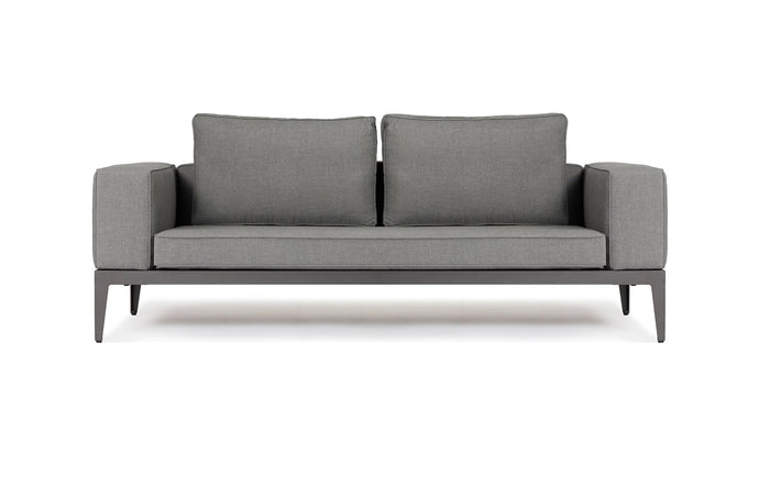 Balmoral Two Seater Sofa by Harbour - Asteroid Aluminum + Taupe Woven Strap/Sunbrella Cast Slate.