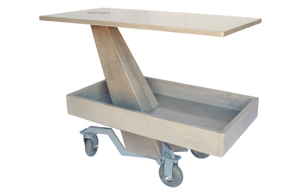 James De Wulf Bar Cart Table by De Wulf - Natural Tone Concrete.