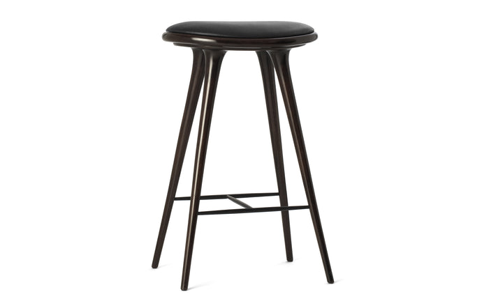 Bar Stool by Mater - Dark Stained Beech Wood With Black Leather Seat.