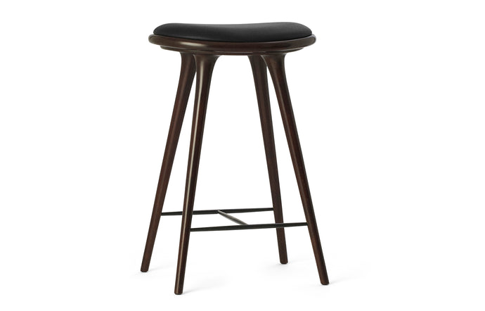 Counter Stool by Mater - Dark Stained Beech Wood with Black Leather Seat.