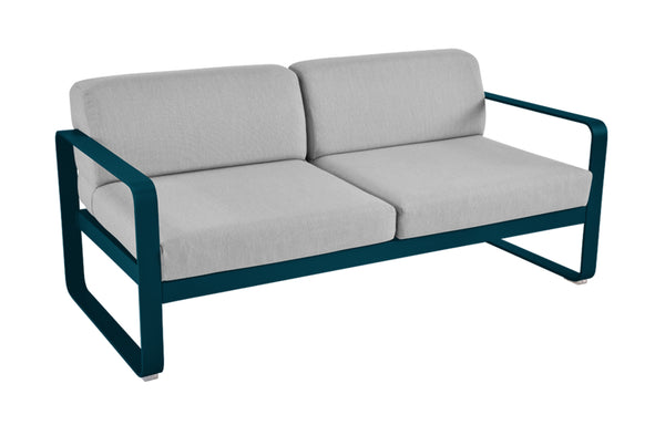 Bellevie 2 Seater Sofa with Premium Flannel Grey Cushions by Fermob - Acapulco Blue (matte textured)