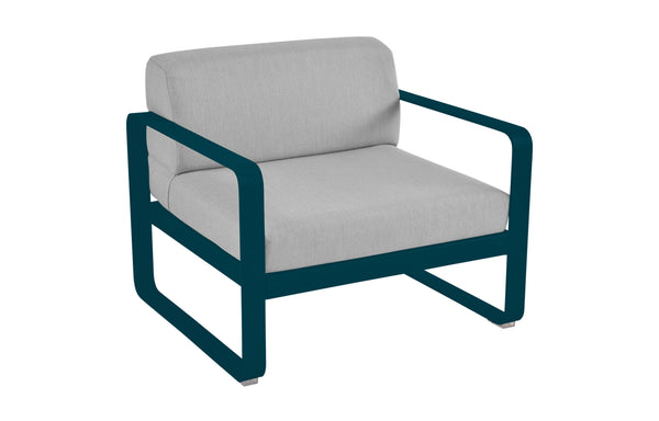 Bellevie Armchair with Premium Flannel Grey Cushions by Fermob - Acapulco Blue (matte textured)