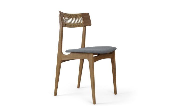 BPS Chair No. 140 by Bernh. Pedersen & Son - Solid Oak, Hand-woven Cane, Hallingdal 65 Kvadrat Group 3 Fabric.