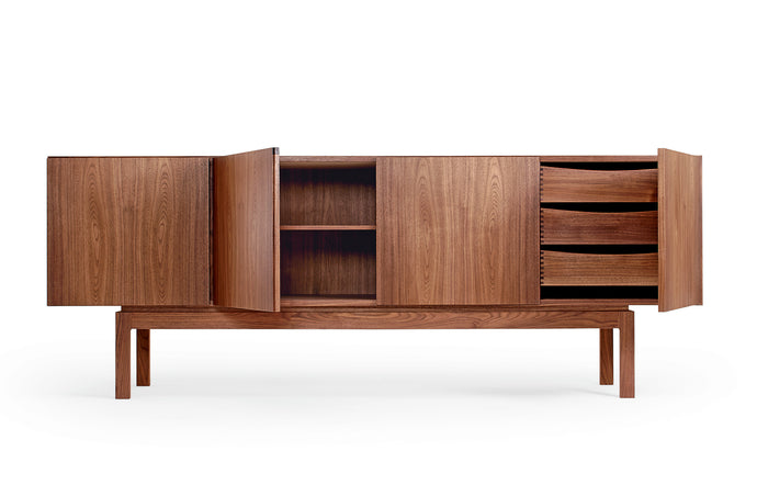 BPS Sideboard No. 183 by Bernh. Pedersen & Son - 3 Large Trays (Combination 3-3-3-0), Oiled Walnut.