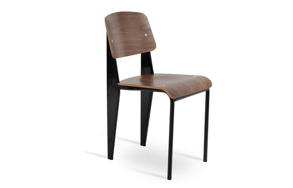 Prouve Dining Chair by SohoConcept - Black Frame With Plywood Walnut Veneer Seat+Back