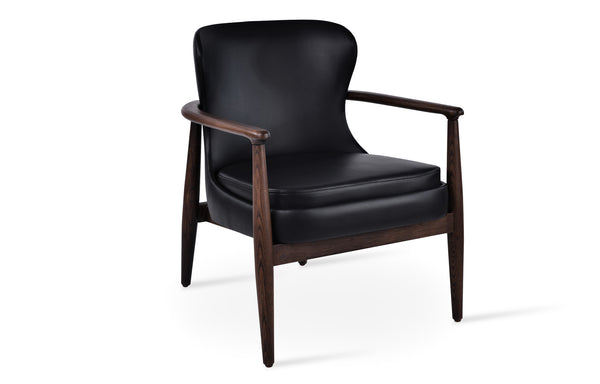 Bonaldo Lounge Chair by SohoConcept - Ash Wood Walnut Finish With Black PPM-FR