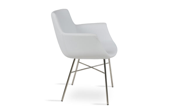Bottega Arm Cross Chair by SohoConcept - Stainless Steel, White Leatherette
