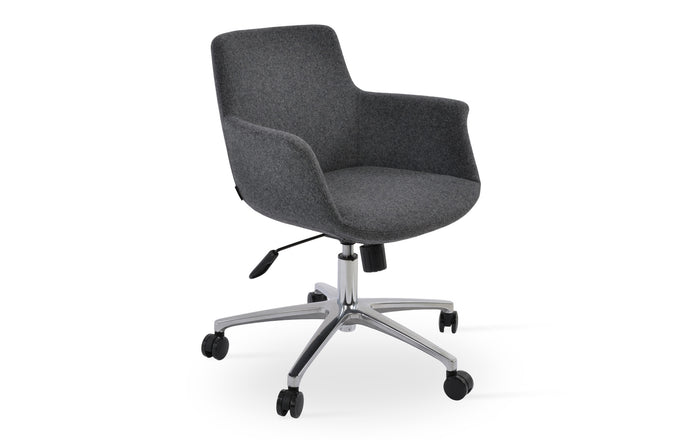 Bottega Office Arm Chair by SohoConcept - Chrome Plated Steel, Camira Blazer Dark Grey Wool