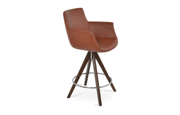 Bottega Pyramid Swivel Counter Stool by SohoConcept - Beech Wood Walnut, Cinnamon PPM-FR.