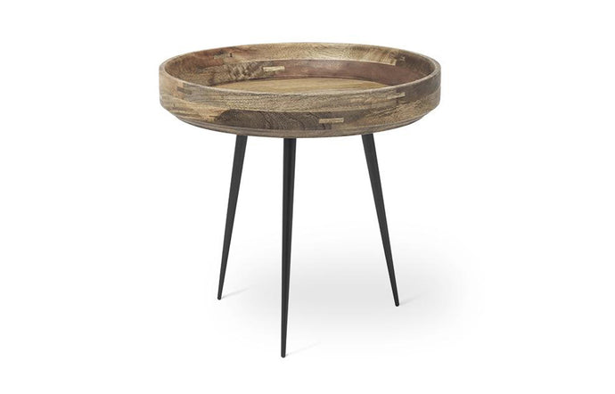Bowl Table by Mater - Small, Natural Laquered Mango Wood with Steel Legs.