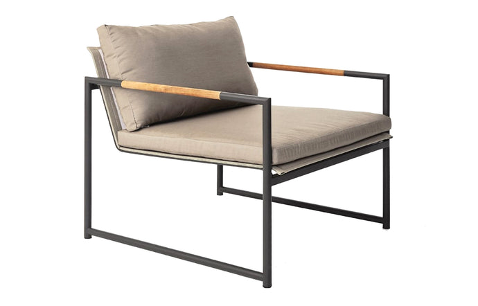 Breeze Arm Chair by Harbour - Asteroid Aluminum + Batyline Silver/Sunbrella Cast Slate.