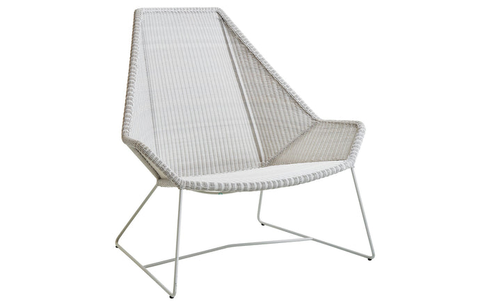 Breeze Highback Chair by Cane-Line - White Grey Fiber Weave, No Cushion Set.
