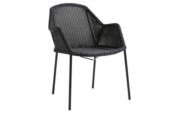 Breeze Stackable Dining Chair by Cane-Line - Black Fiber Weave, No Cushion.