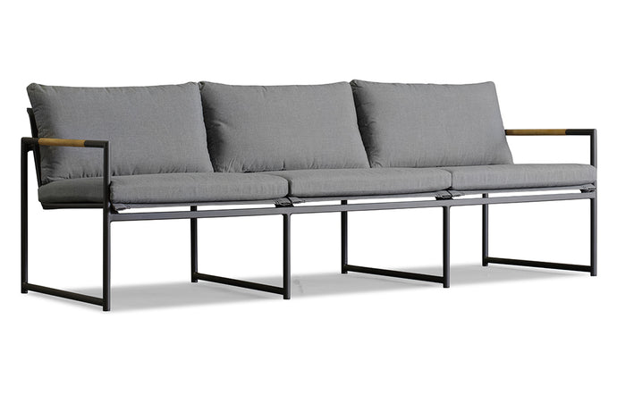 Breeze Three Seat Lounge by Harbour - Batyline Silver/Aluminum Asteroid/Sunbrella Cast Slate.
