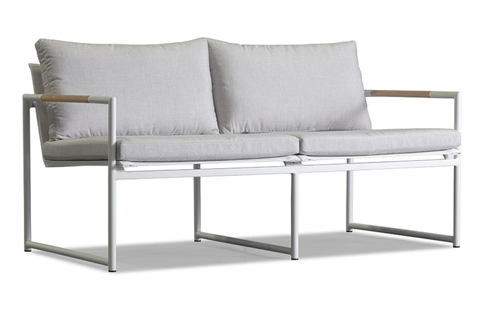 Breeze Two Seat Lounge by Harbour - White Aluminum + Batyline White/Sunbrella Cast Silver.