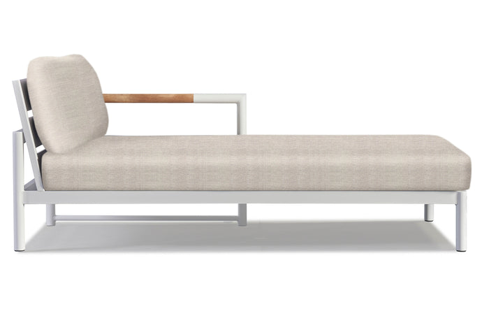 Breeze XL Chaise Sectional by Harbour - Right Facing Chaise Left, White Powder Coated Aluminum + Sunbrella Cast Silver.